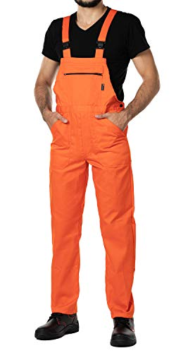 ose Herren Größen S-XXXL Arbeitshose Latzhose arbeits Latzhose Arbeitskleidung (S, Orange) ()
