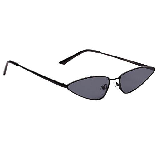 Fenteer Klassische Retro Metallbrücken Mini Cat Eye Designer Sonnenbrille für Herren und Damen - Schwarzes Rahmen-Grau-Objektiv