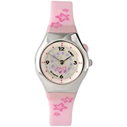 Limit 6677.50 Silver Coloured Girls Watch with Pink Strap, Spinning Disc and Luminous Dial Function