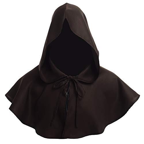 BLESSUME Priester Robe Mönch Mittelalterliche Kapuze Kapuzenmönch (One Size, Braune Mütze + - Braune Mönch Robe Kostüm