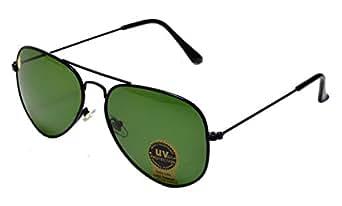 La Victorie Aviator UV Protected Unisex Black Frame Light Green Sunglasses (Large)