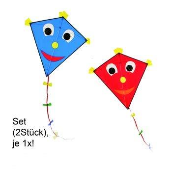 CIM Drachenset - Happy Eddy [ 2 STÜCK Blue/red ] - Einleiner Drachen für Kinder ab 3 Jahren - Abmessung: 67x70cm - inkl. 80m Drachenschnur und Schleifenschwanz
