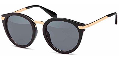 UVprotect Damen Retro Wayfarer Style Sonnenbrille mit leichtem cateye und Bügeln aus Metall schwarz W74-4