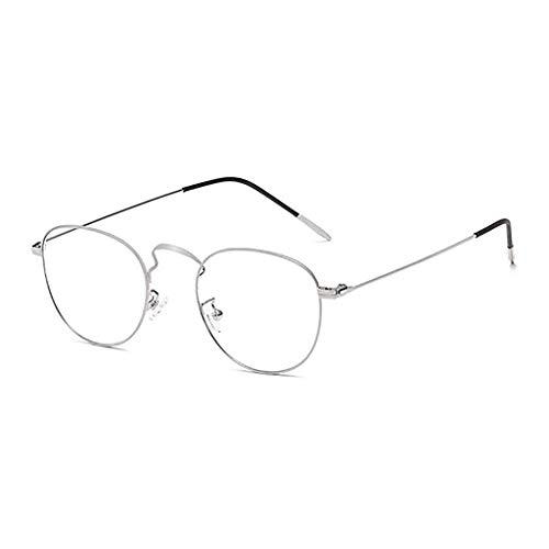 Glücklich zusammen Anti-Radiation und Anti-Blue Brille Computerschutzbrillen für Männer und Frauen Kein Grad Retro Small Fresh Eye Protection (Color : Silver)