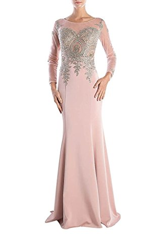 Sunvary Damen Neu Chiffon Stieckrei Applikation Abendkleider Lang Ballkleider Partykleid B-Rosa