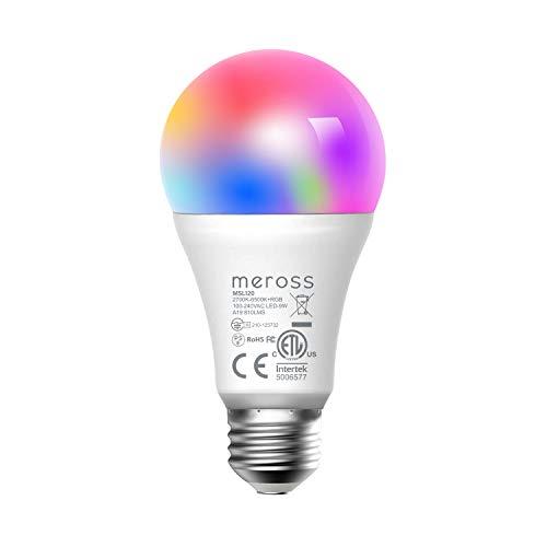 Meross Smart WLAN Mehrfarbige Dimmbare LED Glühbirne Fernbedienung 60W Äquivalent E27 2700K-6500K kompatibel mit Alexa, Google Home und IFTTT, MSL120EU