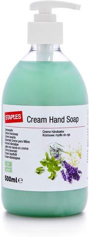 STAPLES Handwaschcreme, Pumpspender, Wildkräuter & Lavendel (500 ml)