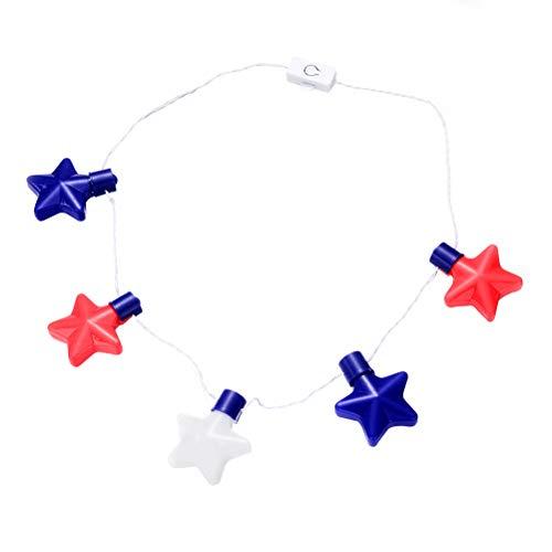 Amosfun 4. Juli LED leuchten Stern Anhänger Halskette für patriotische 4. Juli Unabhängigkeitstag Kostüm Party Favors Geschenke (Patriotische Kostüm Kinder)