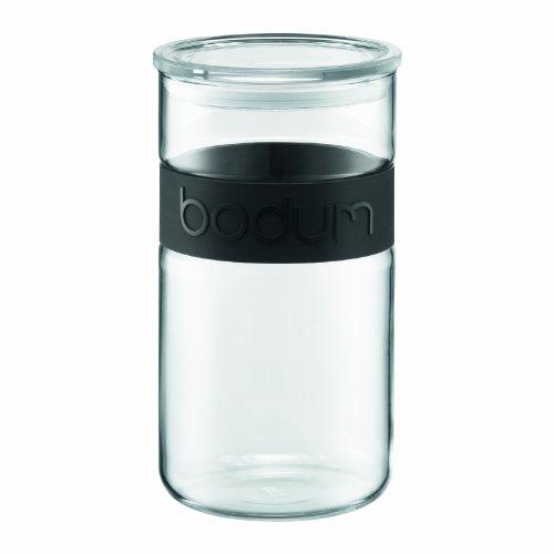 Bodum PRESSO Vorratsglas (Luftdichter Silikonverschluss, Mikrowellen/Spülmaschinengeeignet, 2,0 liters) schwarz