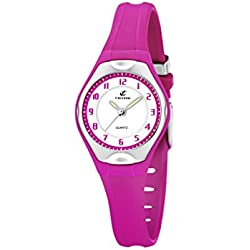 Calypso Women's Quartz Watch with White Dial Analogue Display and Pink Plastic Strap K5163/K