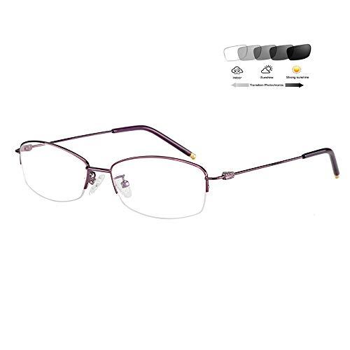 Eyetary Ultraleichte Lesebrille Damen Transition Photochrome Sonnenbrillen Halbrahmen Leser- 1.56 Index Asphärische Linse - UV400 / Blendschutz / 0,50 bis 6,00 Vergrößerung,Purple,+2.00D