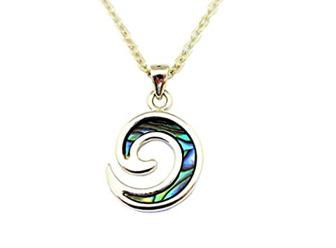 Paua Abalone Shell Inlay, Koru Unisex Pendant Necklace Chain Made from New Zealand