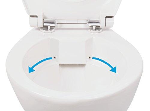Stand-WC | Spülrandlos | Tiefspüler | Abgang waagerecht | Weiß | Toilette | Spülrandloses WC | Klo | Stand-WC | Randlos - 2
