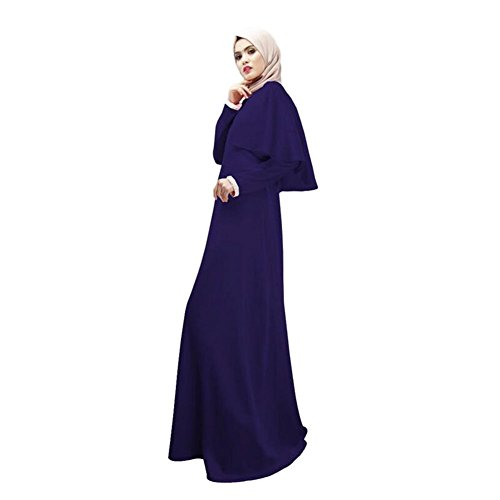 Haodasi Damen Maxi Islamic Muslim Kaftan Abaya Middle East Baumwolle Lange Ärmel Party Malaysia Maxi Kleid Arab Robes Blue