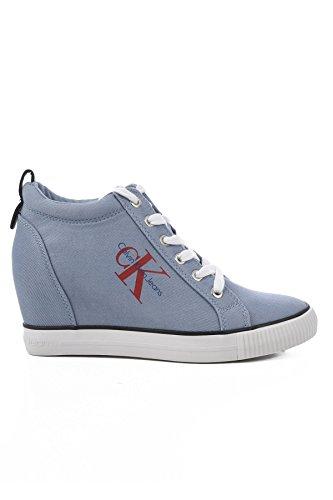 Calvin Klein Baskets Femme Ritzy en Jeans R8957 Jeans Rouge et Bleu Bottines Chaussures Casual - Bleu, 35 EU