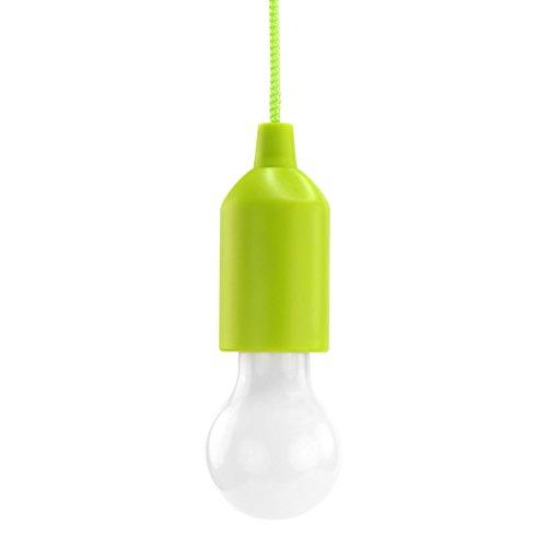 HyCell Pull Light in grün mit Zugschalter inkl. AAA Batterien - tragbare LED Lampe warmweiß - mobile Leuchte ideal für Garten Schuppen Zelt Camping Dachboden Kleiderschrank oder Party Dekoration