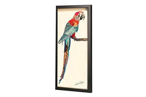 KunstLoft Trendiges Bild Frame Art 3D \'Papagei Passion\' 41x81cm | Handgefertigte Vintage Wanddeko aus Papier | Papagei Vogel Bunt Pop Art | Wandbild Collage Art Moderne Kunst Retro im Bilderrahmen
