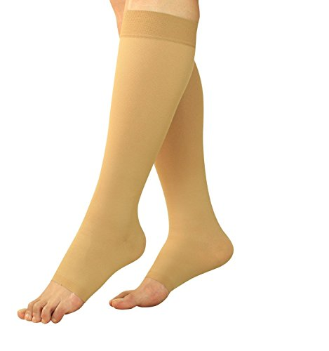 Maternity Compression Stockings - Pregnancy Tights & Leggings - Knee High Open Toe (Beige, Large)
