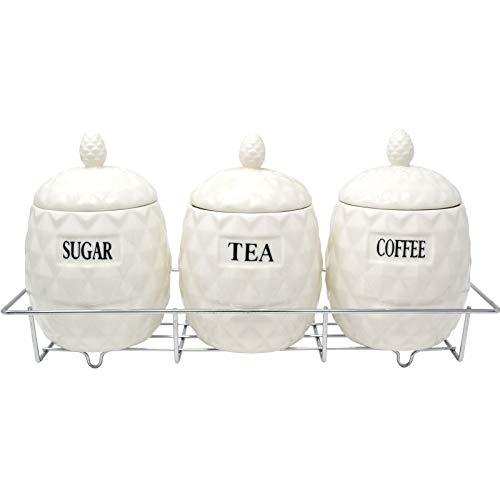 Preisvergleich Produktbild Generic * Ananas-Dosen für Kaffee,  Zucker,  Ananas,  Teeset,  Kiefer,  mit Ständer und Küchenaufbewahrung