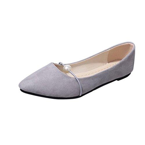 Stiefel Damen Flachschuhe Sonnena Solid Farbe Wildleder Flat Heel Pearl Flache Ferse Spitz Casual Shoes Flock/Solid/Außen/Flat mit/Basic/Spitze Zehe/Gummi/Freizeit (37, Sexy Grau) (Pearl Ferse)