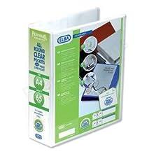 Emgee Presentazione Lever Arch File clear Cover Tasche a 2 anelli, dorso 70 mm, A4, bianco, 560350 [Confezione da 5]