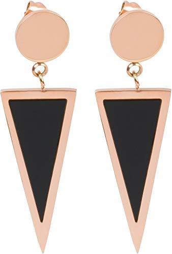 styleBREAKER Damen zweifarbige Edelstahl Ohrringe mit Stecker in Dreieck Form, Ohrhänger, Ohrschmuck 05090010, Farbe:Rosegold