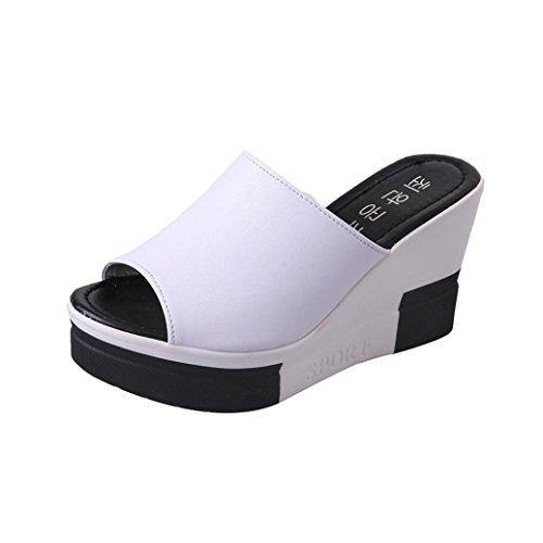 VJGOAL Damen Sandalen, Damen Mädchen Peep-Toe Roman Wedges Schuhe Sommer Strand Sandalen Flip Flops Frau Geschenk (40 EU, Weiß)