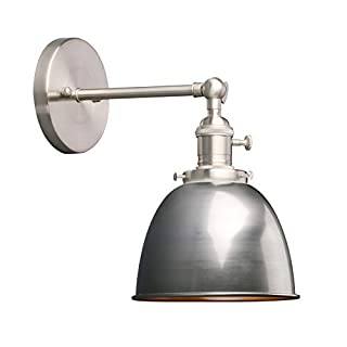 Phansthy Industrial Wall Light with On Off Switch, Retro Style Led Metal Lamp with Dome Shade, E27 Indoor Wall Lighting Fixtures for Kitchen Restaurant Bedroom (Varnish)
