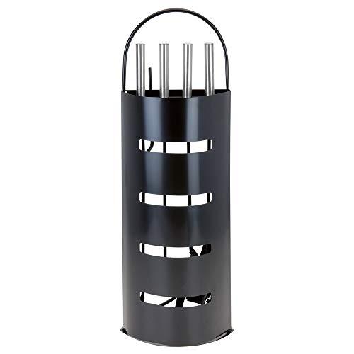 Kaminbesteck Kamin Besteck 5-teilig, Schwarz oder Silber, Farbe:Schwarz