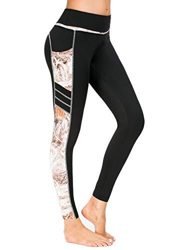 17b1c1daf1df47 New Mincc Leggings Donna Sportivi Pantaloni Per Yoga Allenamento Fitness  Vite Alta Opaco Stampati con Tasca