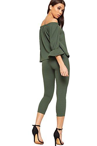 WEARALL Femmes Haut Pantalon Large Épaule Co-Ord Établi Bardot Mesdames Pantalons Extensibles Nouveau - 36-42 Vert