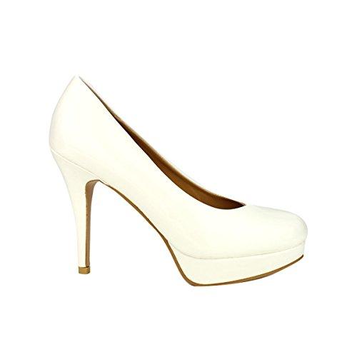 Cendriyon, Escarpin verni Blanc CINKS LOOK Chaussures Femme Blanc
