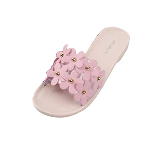 Hunpta Sommerstrand Frauen Schuhe Blume flachen Sandalen rutschfeste Hausschuhe Sandale Rosa