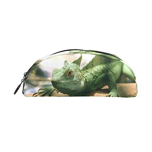 MUOOUM Federmäppchen für Reptilien, Iguana-Design, halbrund, Stifteetui, für Schule, Büro