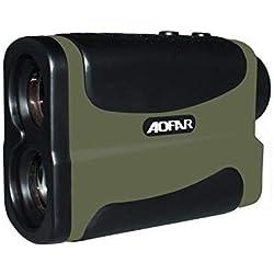 AOFAR Telémetro de Golf Caza 700 yardas Impermeable, 6X 25mm ocular Telescopio telémetro láser Medición de Distancia de velocidad Función de escanea y en niebla Batería a gratis