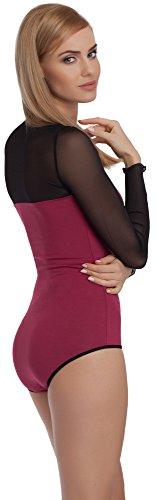 Merry Style Damen Langarm Body VBD15 Violett/Schwarz