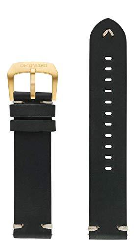 DETOMASO echtes italienisches Lederarmband im Vintage Style 22mm (Leder - Grün (Vintage Style))