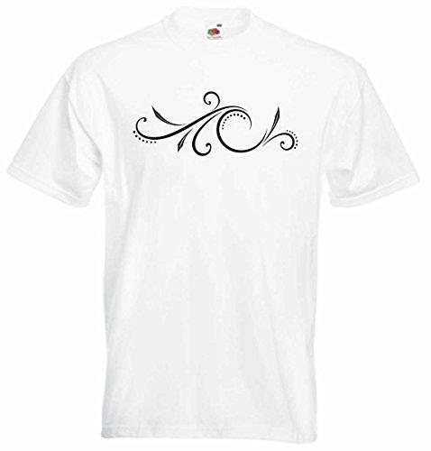 T-Shirt D443 T-Shirt Herren schwarz mit farbigem Brustaufdruck - Tribal Natur / Farn mit Blättern und Punkten Mehrfarbig