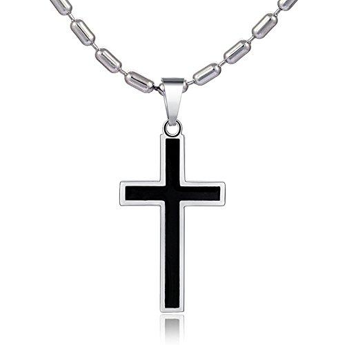 tte Edelstahl 55 cm und Anhänger Kreuz zweifarbig aus Edelstahl und Geschenkbeutel ()