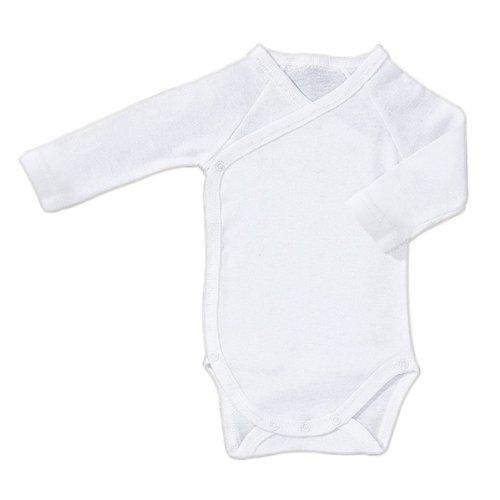 BORNINO Wickelbody langarm Baby, Größe 62/68, weiß