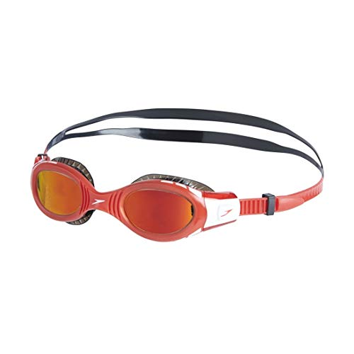 Speedo Kinder Futura Biofuse Flexiseal Mirror Junior Schwimmbrille, Schwarz/Lava Rot/Orange Gold, One Size