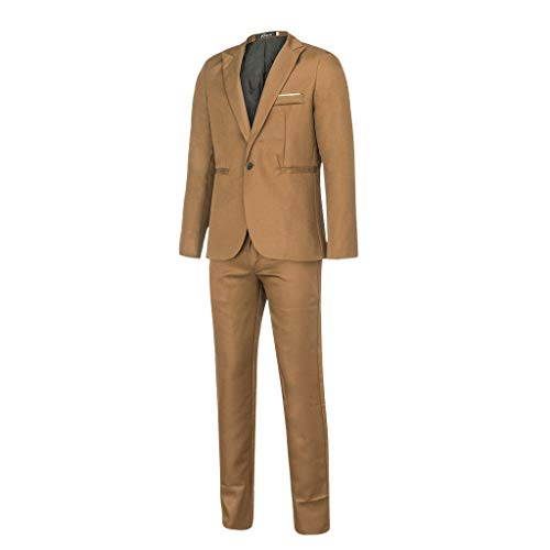 Pur-push-button (ODRD Yoga Hosen Pants Herren Slim-Button-Anzug Pure Color Dress Blazer Host Show Jacke Mantel & Hose Laufhose Sweathose Jogging Trainingshose Sweatpants Freizeithose Jogger Sport)
