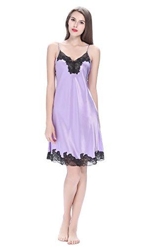 Lilysilk Modisch Damen Seide Nachthemd Nachtkleid Kurz mit Spitze 22 Momme Hell Lila