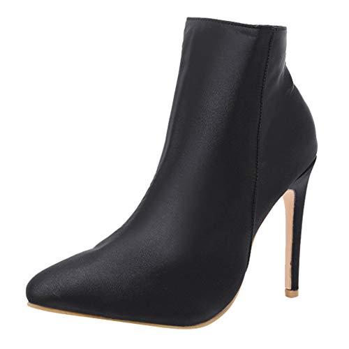 LianMengMVP Stivali con Tacco Alto Donna, Stivaletti Donna Stivali Moda Sexy Casual Elegante Invernali con Tacco Alti Zip sopra Tacchi Alti Inverno Boots 11cm High Heel Shoes