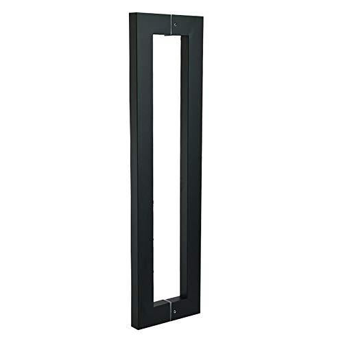WANDOM Edelstahl Glastürgriffe Schwarze Knöpfe Haus Ornamentierung Tür Hardware Bad Dusche Glastür Quare-Rohr Griff, Länge 438 Mm - Haus Tür-hardware