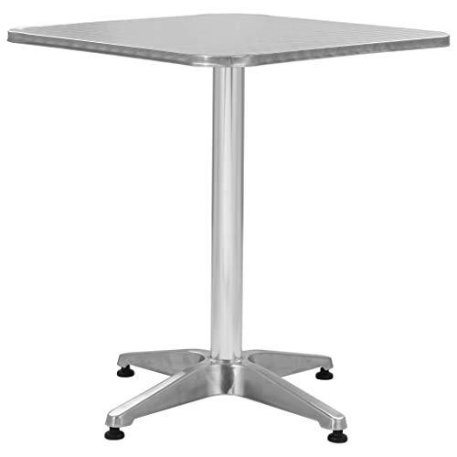 Festnight- Metall Gartentisch Quadratisch 60 x 60 Silbern | Wasserfest Alu-Beistelltisch Bistrotisch Koffertisch für Garten Balkon Terrasse