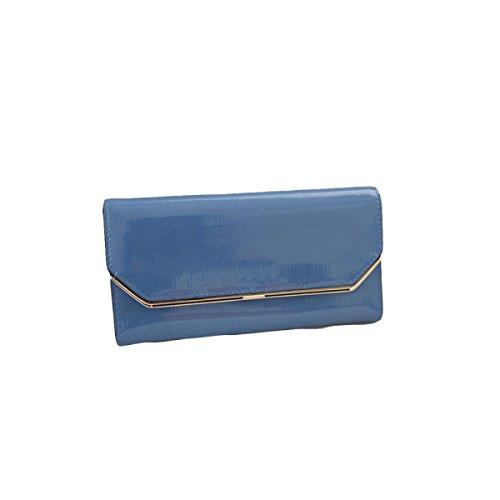 Damen-Tasche Geldbörse Handtasche Leder Langen Abschnitt Dreifache Null Geldbörse Langen Abschnitt Drei Casual Casual Mode Blue
