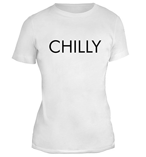 Mesdames T-Shirt avec Minimalistic Chilly Word Desing imprimé. Blanc