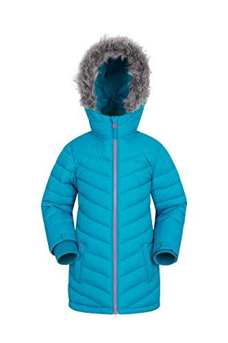 Mountain Warehouse Sally Kinder Gefütterte Wasserfeste Jacke - Regenjacke, Isolierte Kinderjacke, Winterjacke mit Fell, Pelzbesatz- Für Jugend, Mädchen, Jungen Blaugrün 140 (9-10 Jahre)