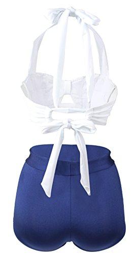 Gigileer Damen Retro Badeanzug Bademode Bikini Set hohe Teillen weiss & blau XXL -